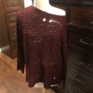 Millau Burgundy distress oversize sweater